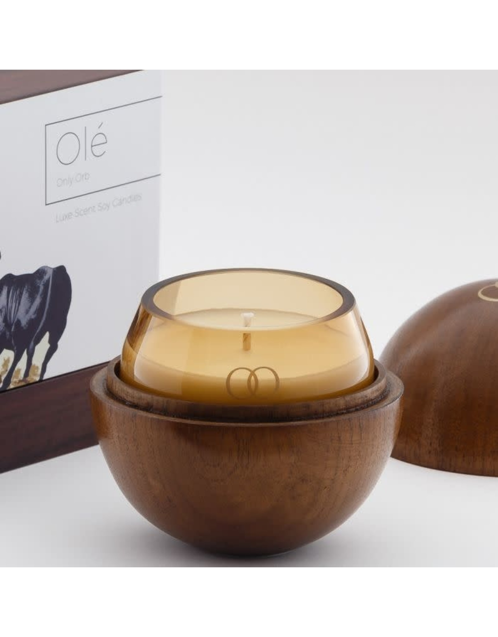 Only Orb Teak Walnut Finish Orb with Ole Candle