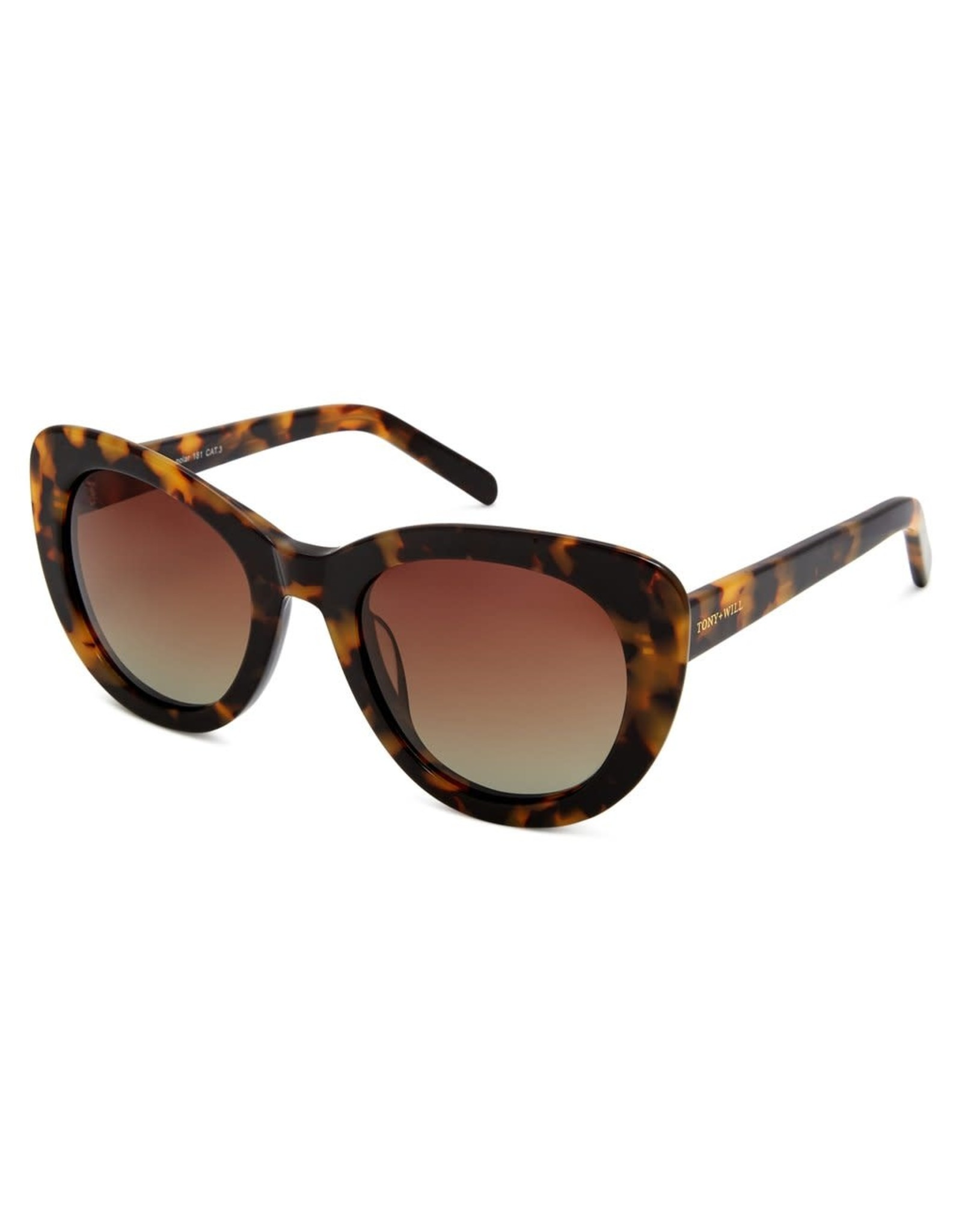 Delta Polarised Retro Cat Eye Frame Womens Sunglasses - Brown Grad Lens