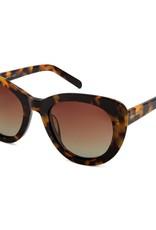 Delta Polarised Retro Cat Eye Frame Womens Sunglasses - Brown Grad Lens