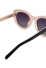 Delta Polarised Retro Cat Eye Frame Womens Sunglasses - Black Grad Smoke Lens