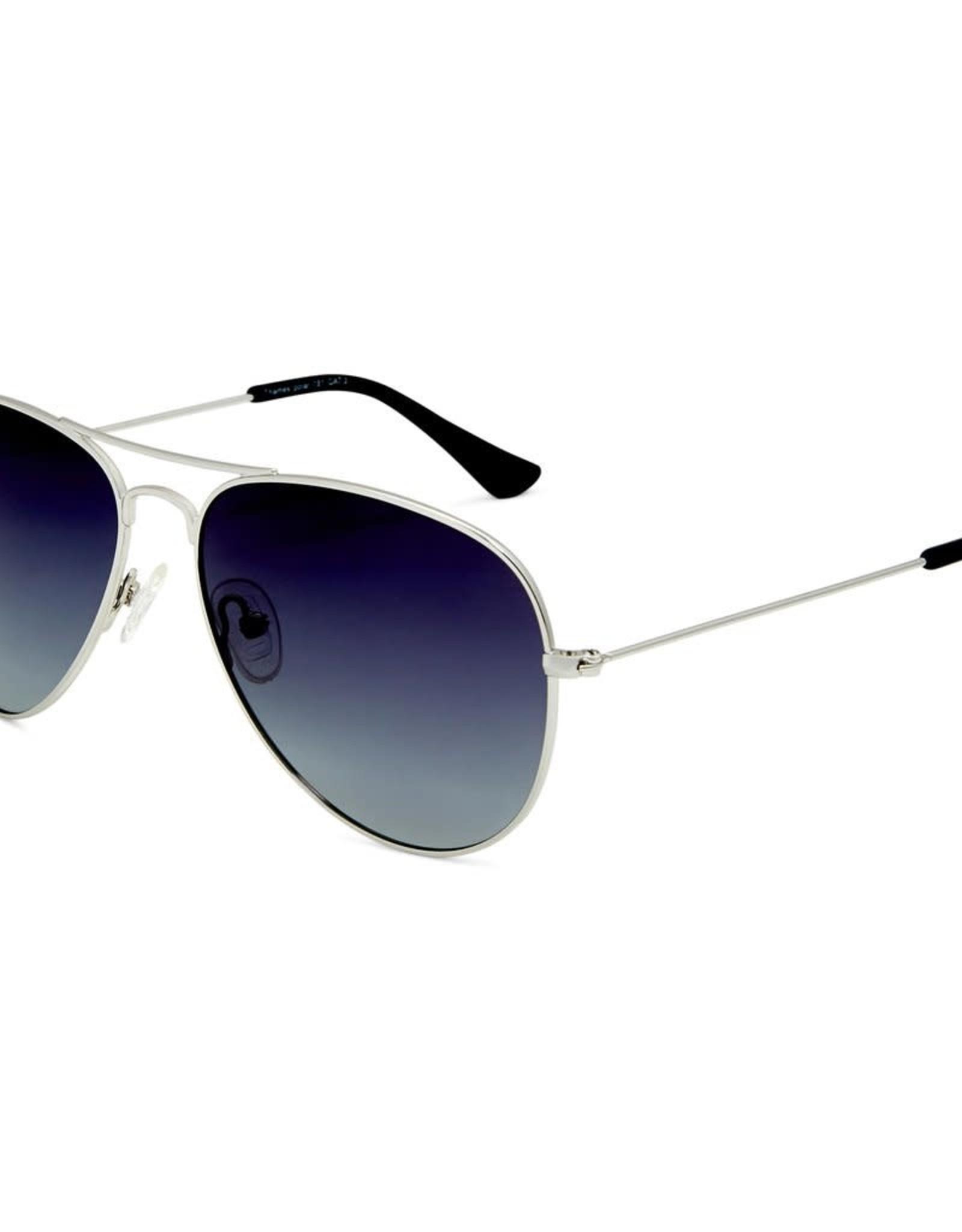 Thames Polarised Vintage Aviator Frame Sunglasses - Silver Grad- Smoke Lens