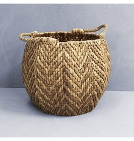 WATERHYACINTH HEXAGONAL BASKET WITH ROPE HANDLES