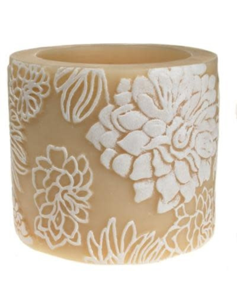 Candle Japanese chrysanthemum white + ivory