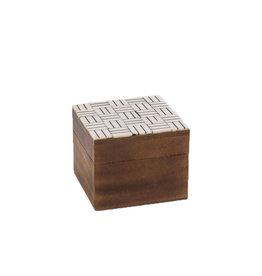 Natural & Black Bone Top Square Box