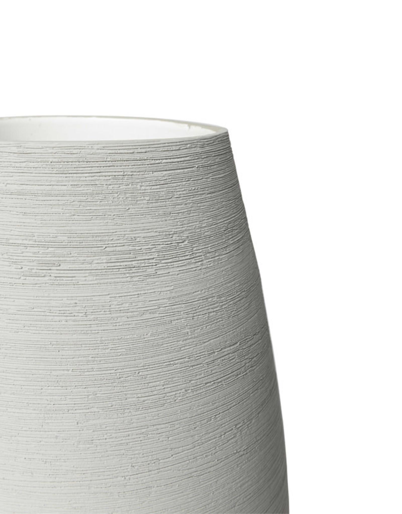 MED SOFT GREY VASE-HORIZ LINES D24H31cm