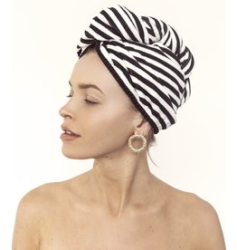 Louvelle Riva Hair Towel Wrap- Monochrome Stripe