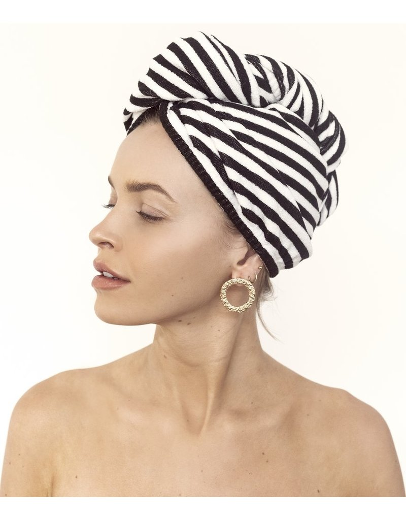 Louvelle Riva Hair Towel Wrap- Monochrome Stripe