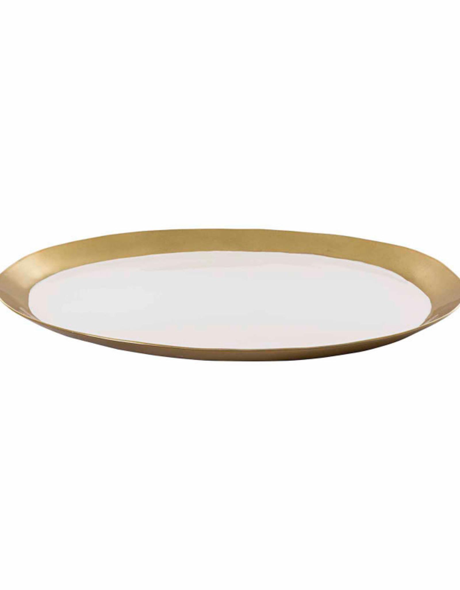 White Enamel Round Tray with Gold