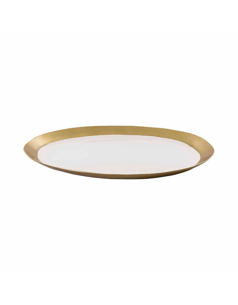 Horgans White Enamel Round Tray with Gold