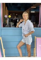 Hut Clothing The Linen Boyfriend Shirt White w/Blue Stripes S