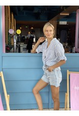 Hut Clothing The Linen Boyfriend Shirt White w/Blue Stripes M