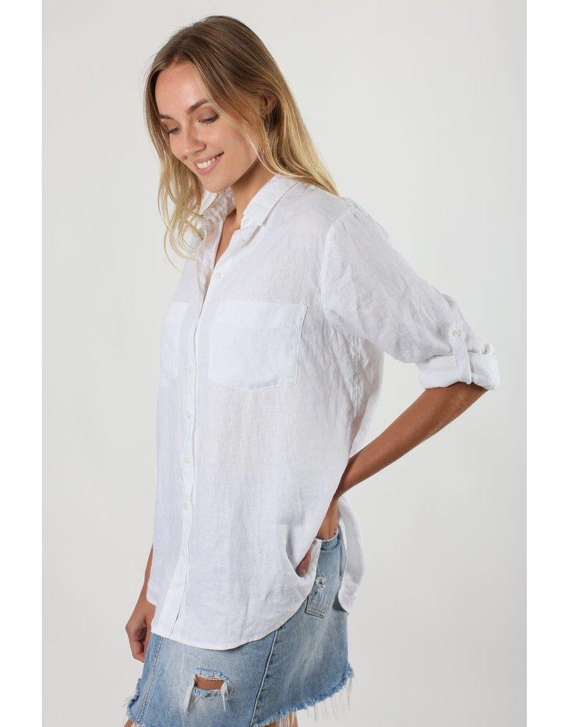 Hut Clothing The Linen Boyfriend Shirt White M