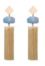 G X G Collective Anna Semi-Precious Natural Stone Tassel Earrings, Ice blue