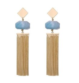 G X G Collective Anna Semi-Precious Natural Stone Tassel Earrings, Ice blue