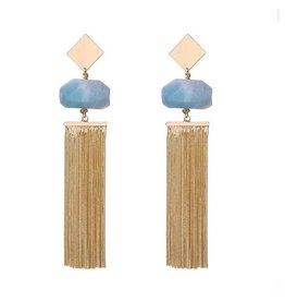 G X G Collective Anna semi-precious natural stone tassel earrings-ice blue