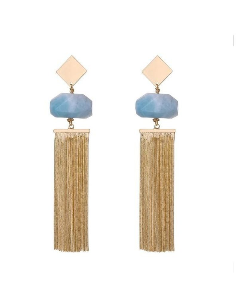 G X G Collective Anna semi-precious natural stone tassel earrings-ice blue