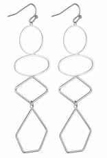 G X G Collective Lorna Geometric Earrings -Silver