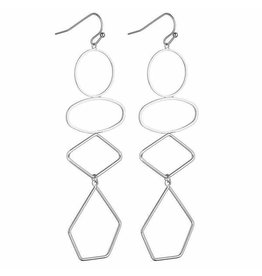 G X G Collective Lorna Geometric Earrings -Silver