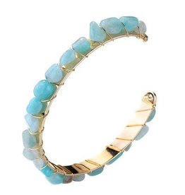 G X G Collective Sally Anne Natural Stone Cuff Turquoise