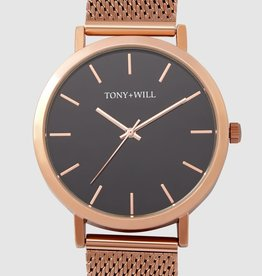 Tony and Wills, Rose White Mesh Black Facet Watch