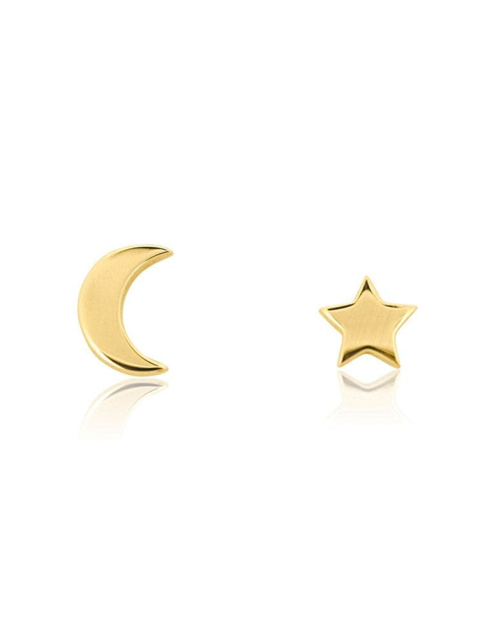 Star & Moon Stud Earrings. Gold