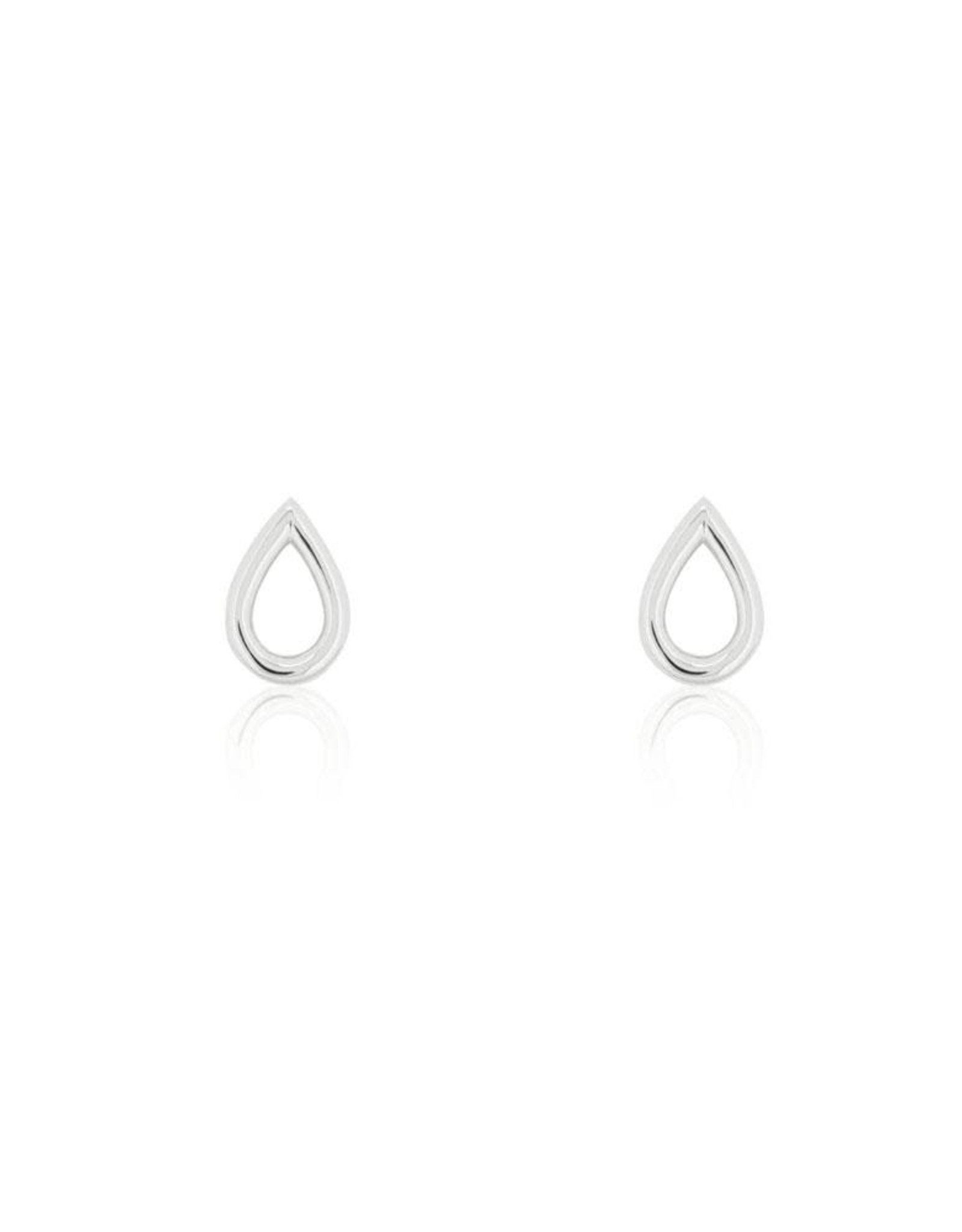 Open Drop Stud Earrings, Silver