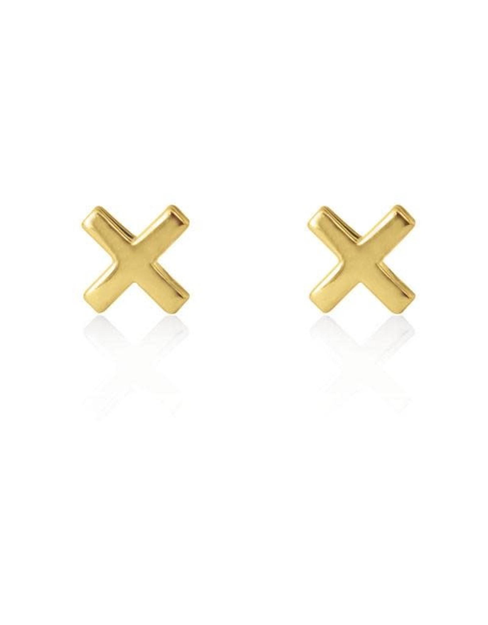 Linda Tahija Cross Stud Earrings, Gold