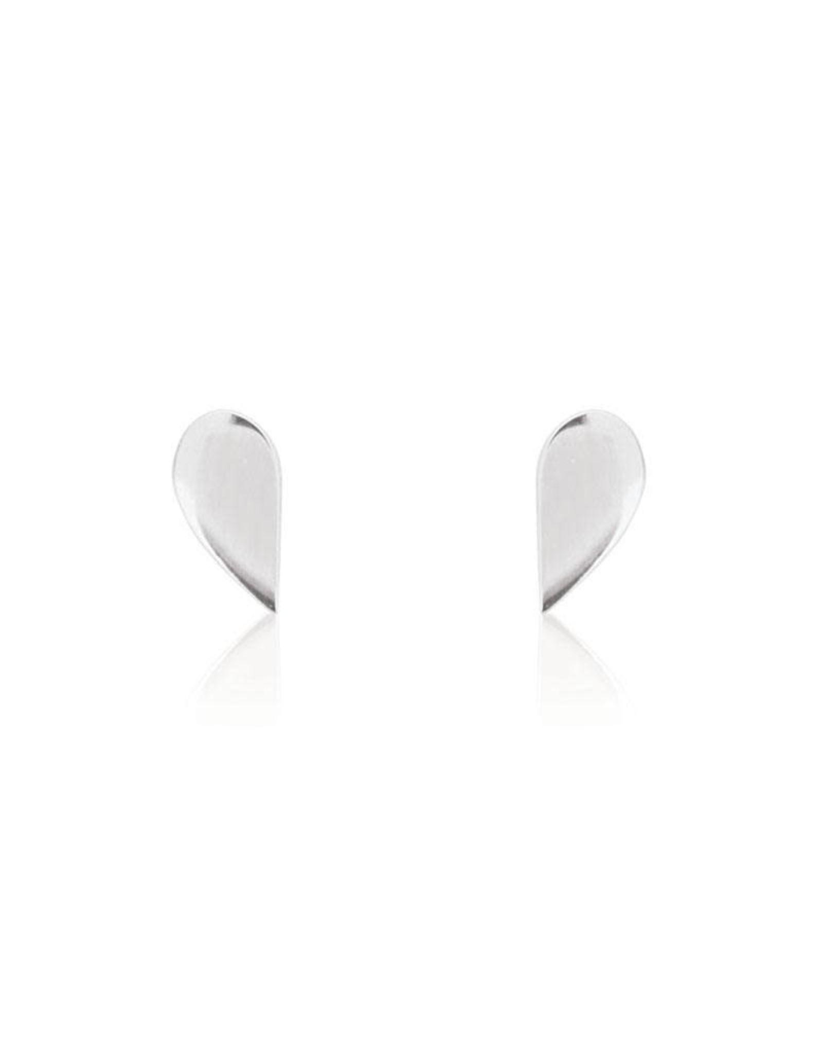 Linda Tahija Half Stud Earrings, Silver