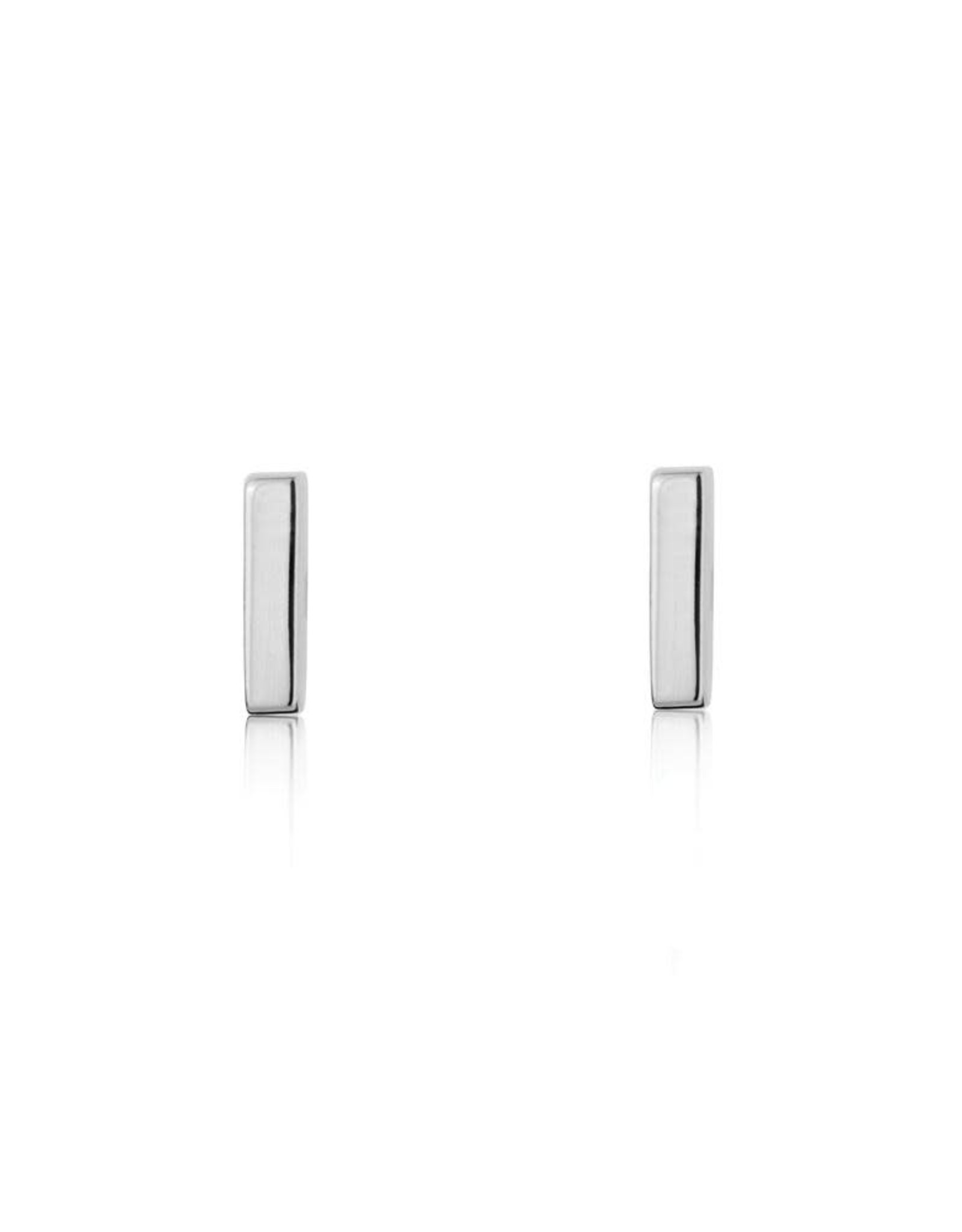 Mini Bar Earrings, Silver