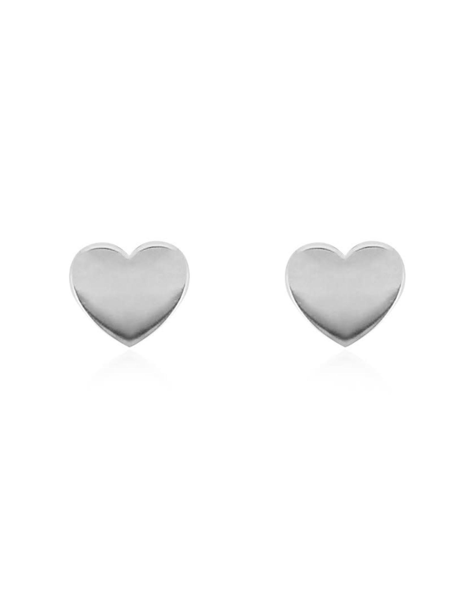 Heart Stud Earrings, Silver