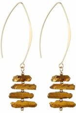 GxG Collective Titanium Quartz Earrings, Gold