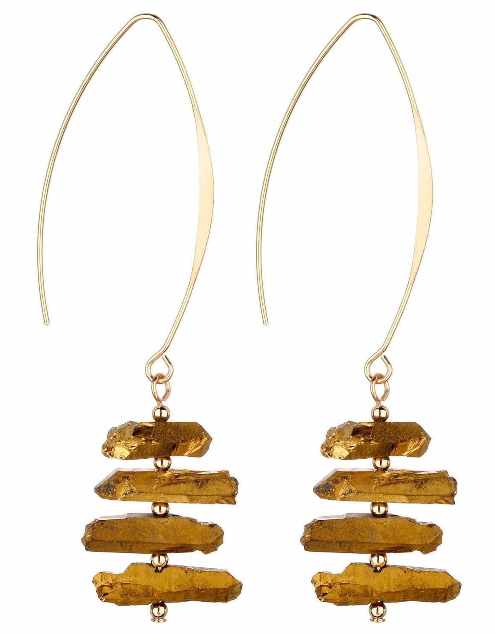 Titanium Quartz Earrings, Gold