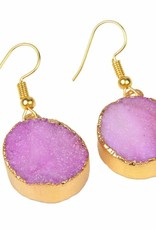 G X G Collective Pink Natural Quartz 18kt Gold Plated Earrings