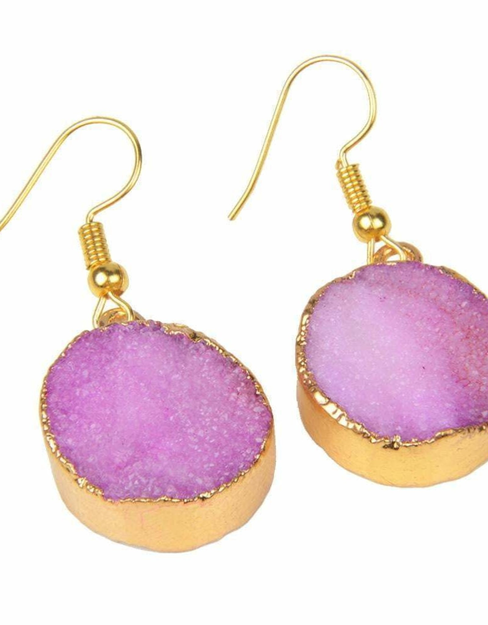 Pink Natural Quartz 18kt Gold Plated Earrings