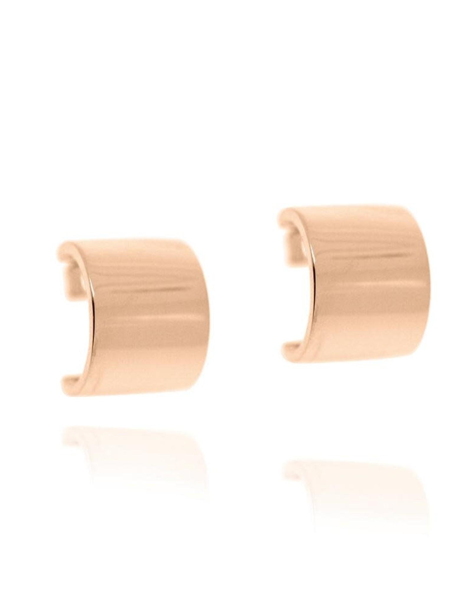 Block Hoop Earrings, Rose Gold