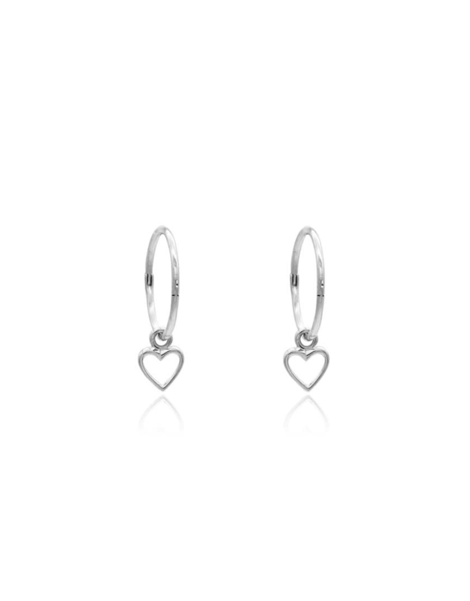 Open Heart Sleeper Earrings, Silver