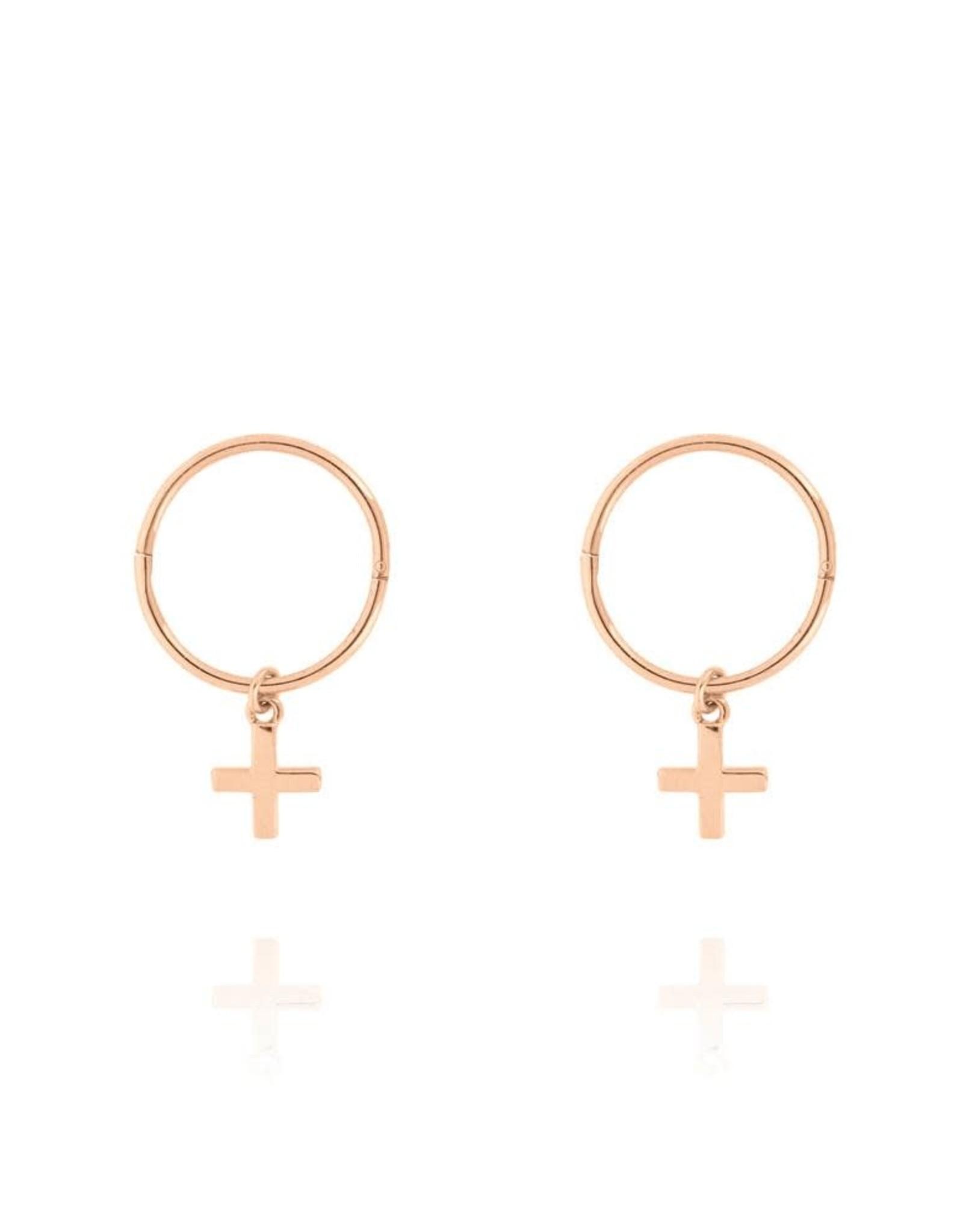 Cross Sleeper Hoop Earrings, Rose Gold