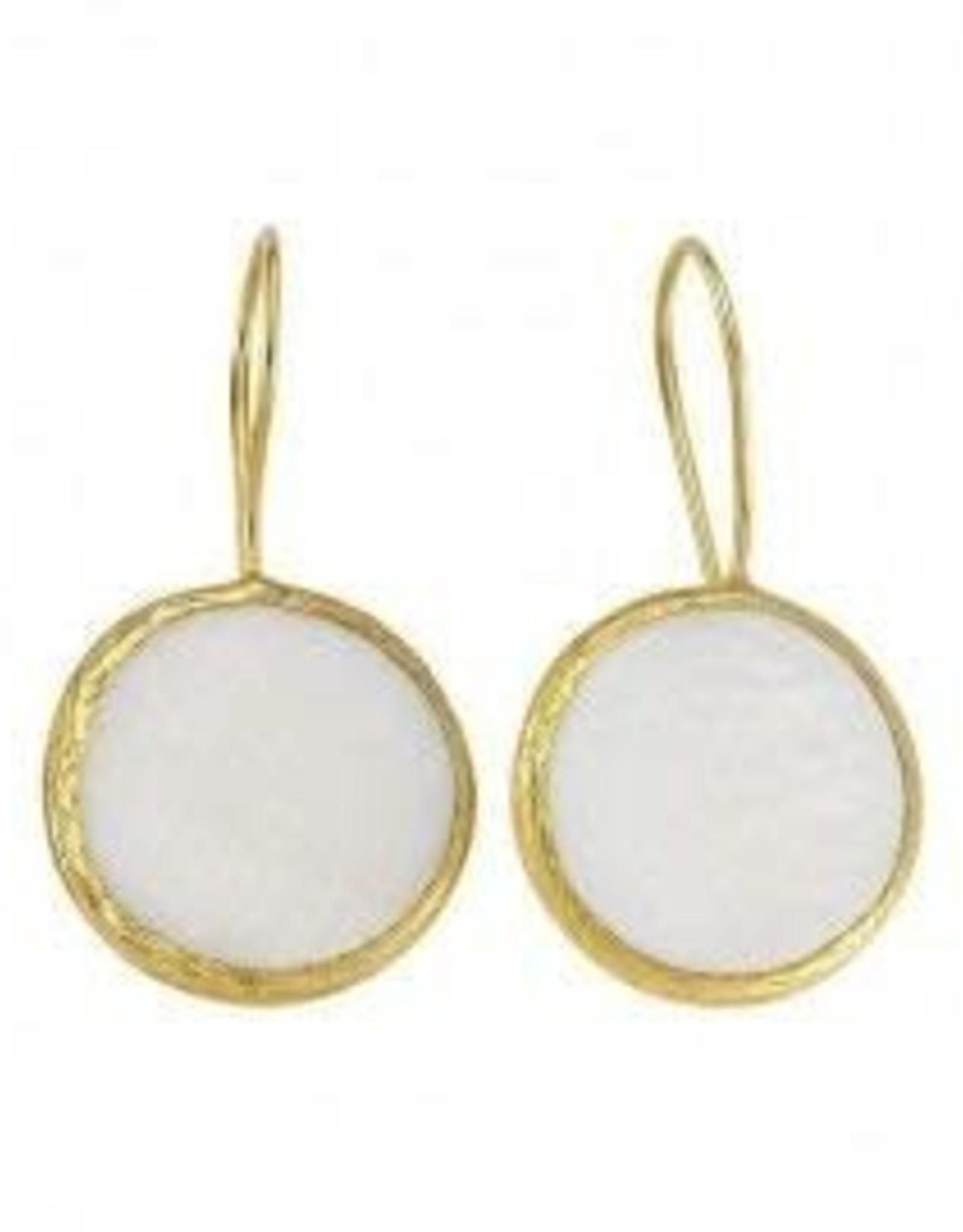 White 18kt over brass natural stone