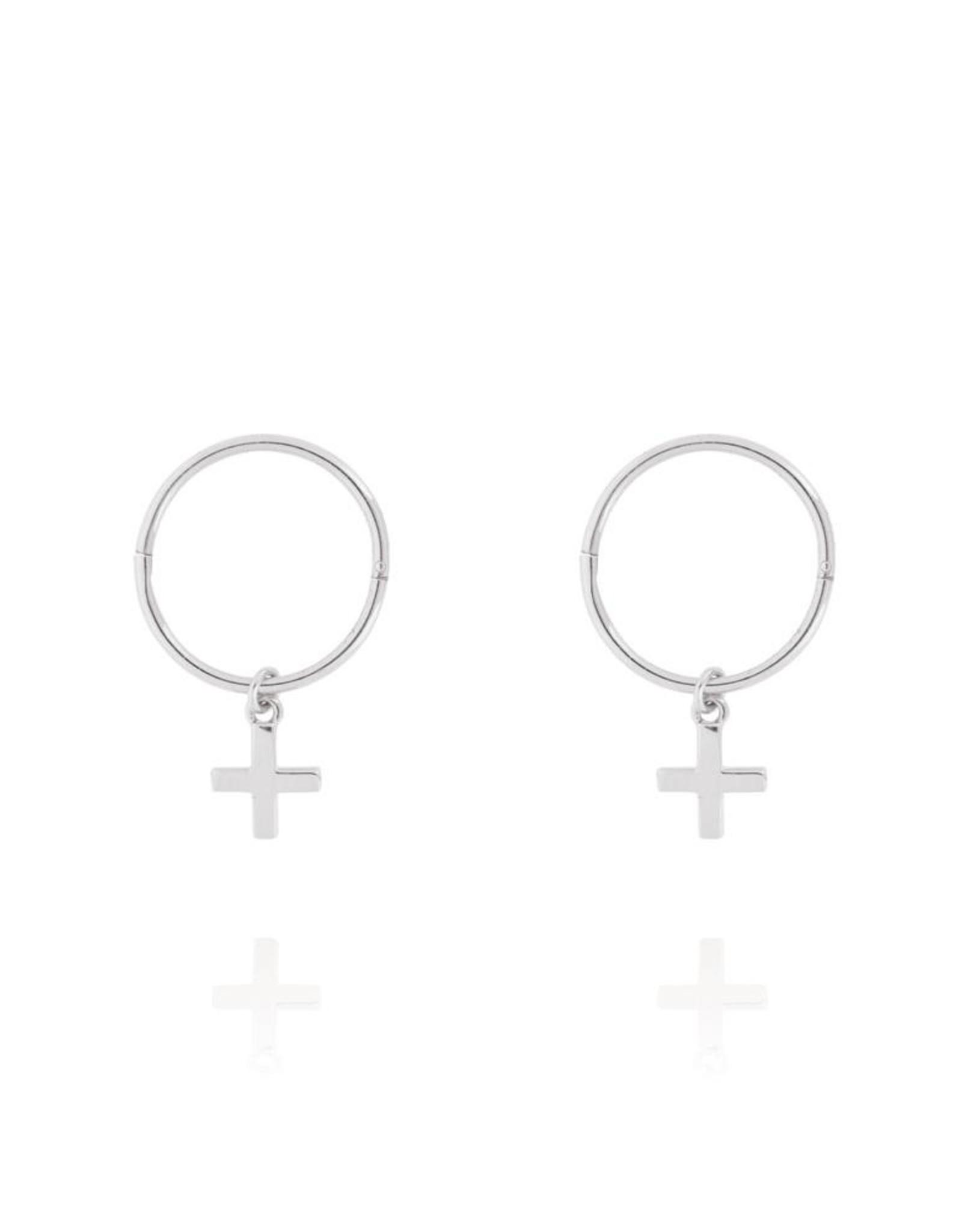Cross Sleeper Hoop Earrings - Sterling Silver
