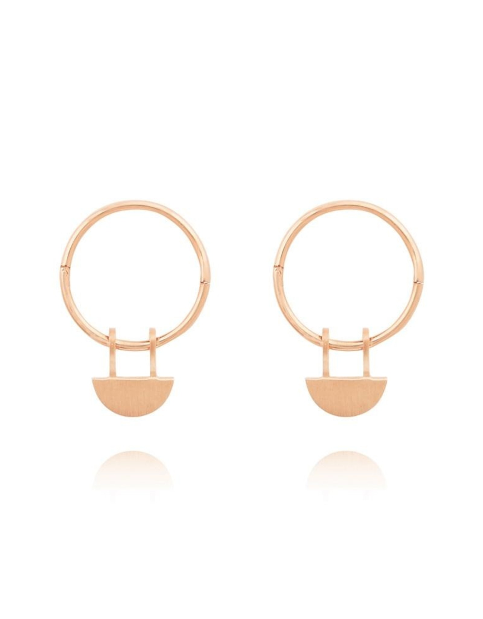Yolly Sleeper Hoop Earrings - Rose Gold
