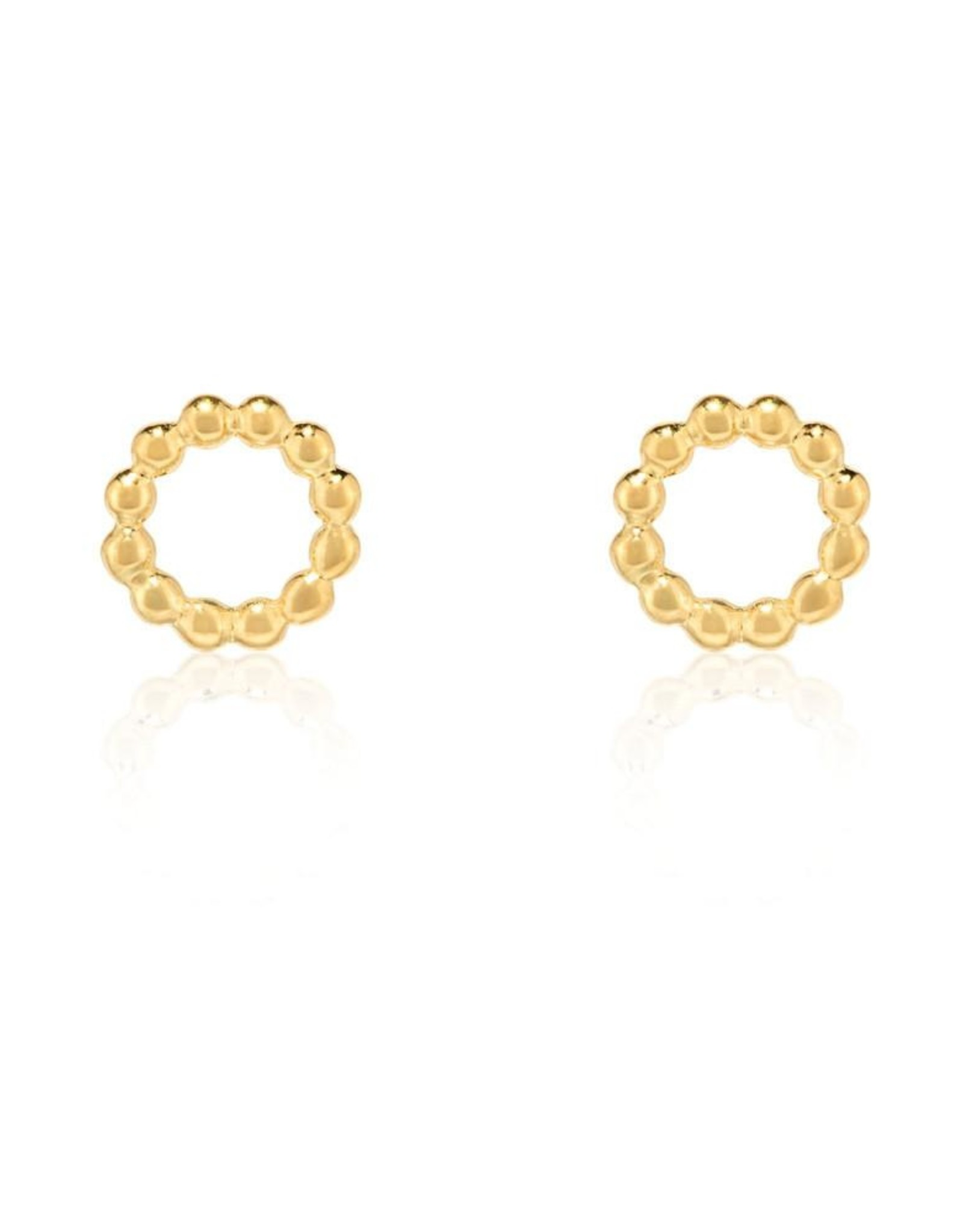 Beaded Circle Stud Earrings - Gold Plated Sterling Silver