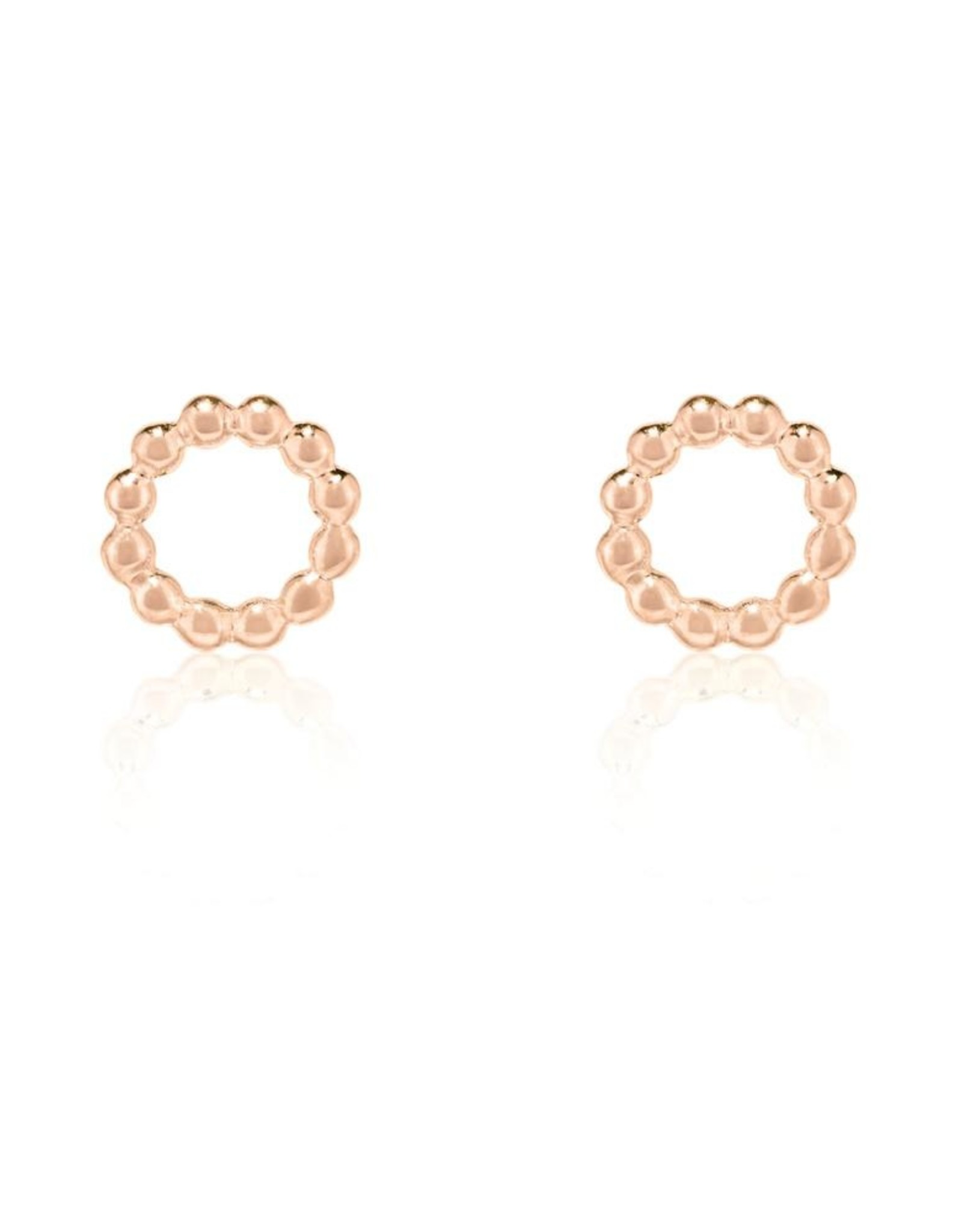 Beaded Circle Stud Earrings - Rose Gold Plated Sterling Silver