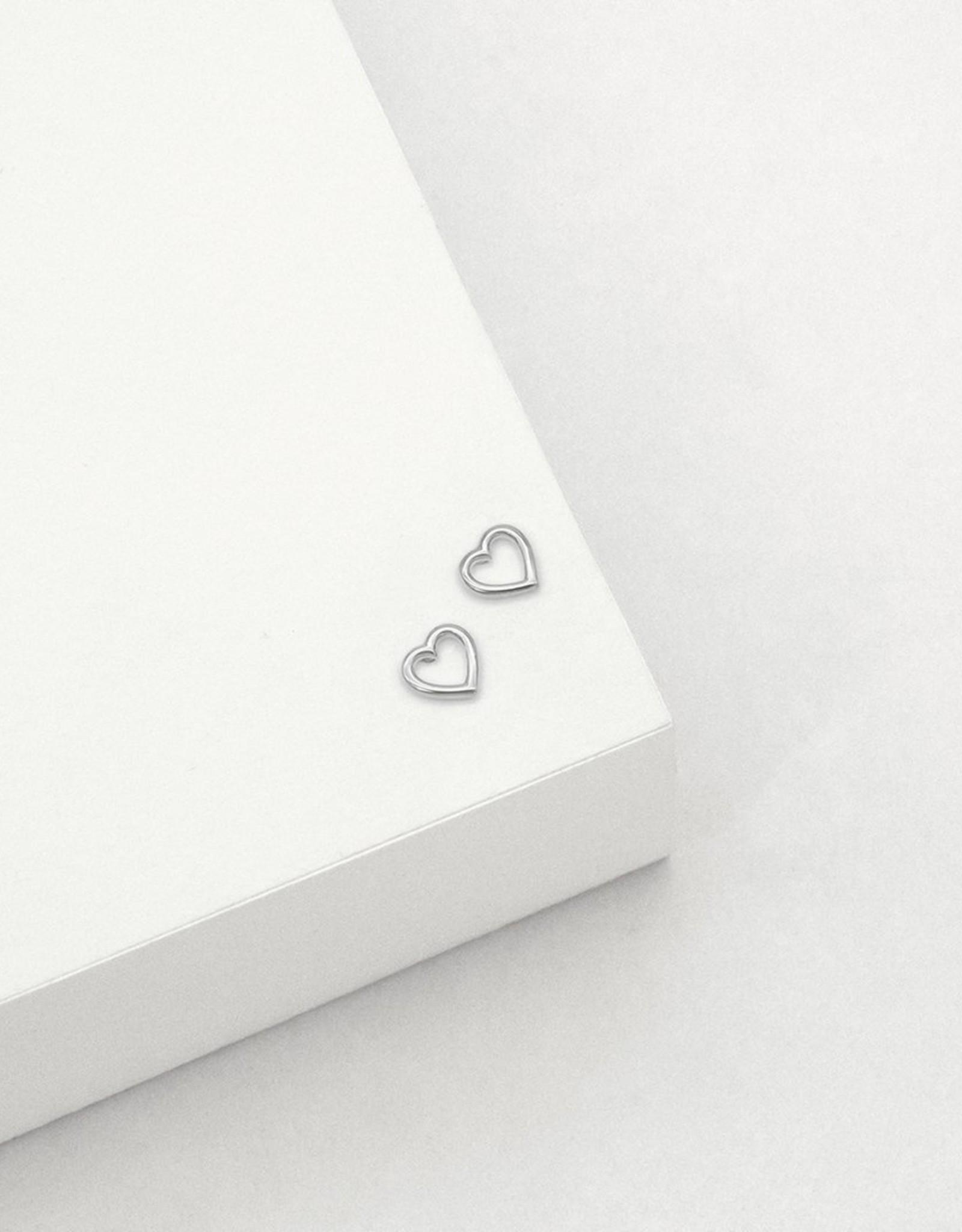 Open Heart Stud Earrings - Sterling Silver