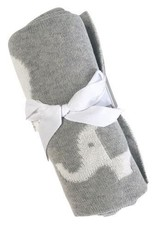 Knitted Baby Blanket - Grey Elephant