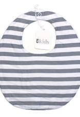 Round Neck Bib - Grey Stripe