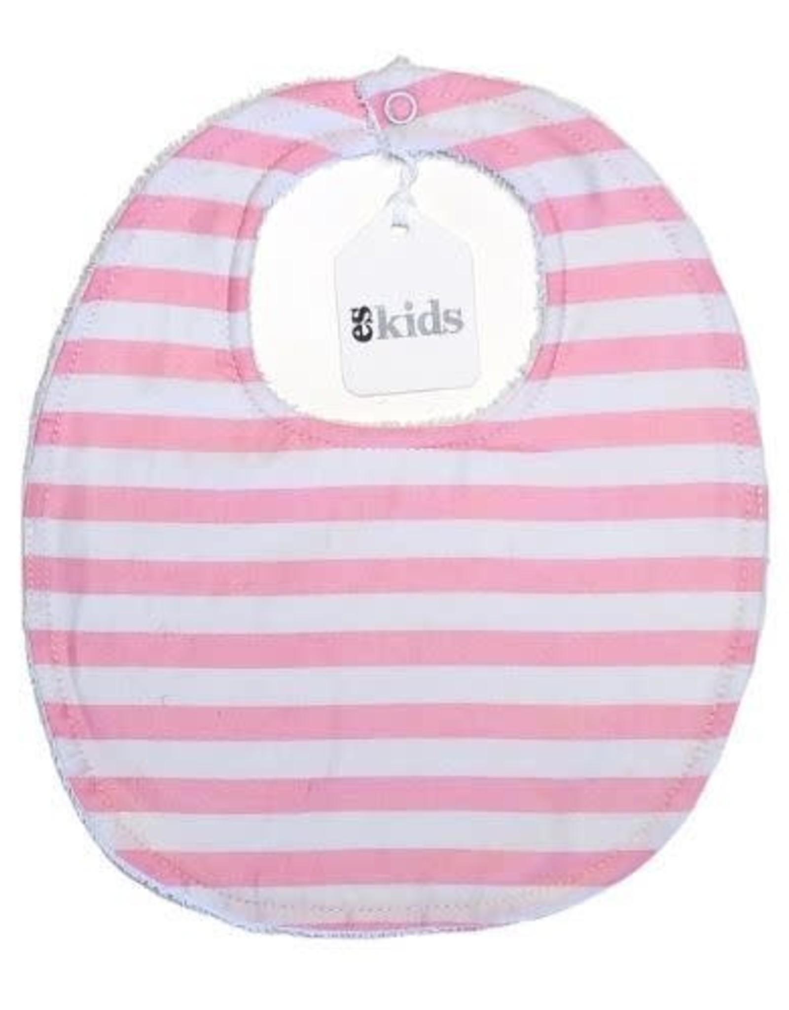 Round Neck Bib - Pink Stripe