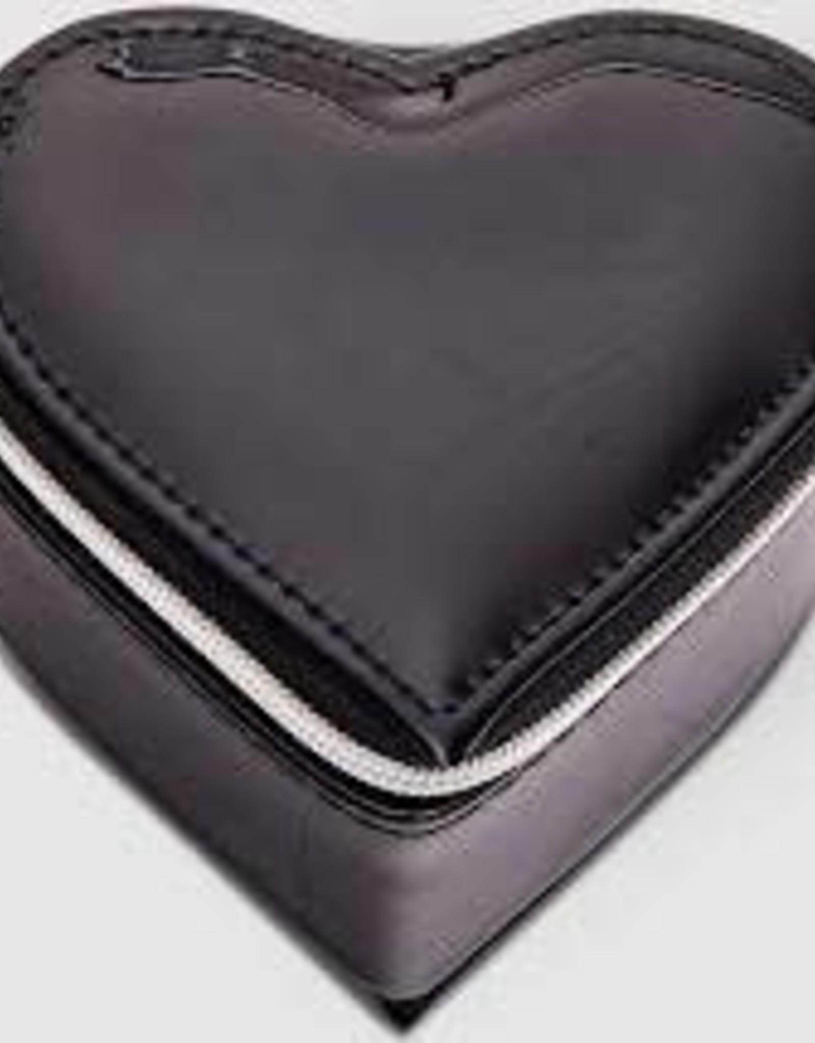 Black Patent Heart Jewellery Box