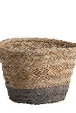 Grey Base Stripe Oval Basket