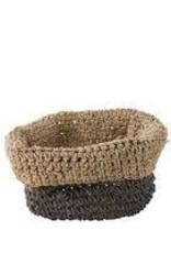 Grey stripe/roll edge round basket