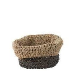 Grey stripe/roll edge round basket